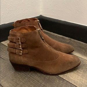 Auth Rebecca Minkoff suede leather ankle boots 6